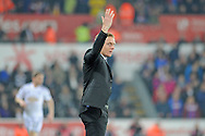 Swansea City Manager Garry Monk gestures from the touchline.<br /> Barclays Premier league match, Swansea city v Crystal Palace at the Liberty stadium in Swansea, South Wales on Saturday 29th November 2014<br /> pic by Phil Rees, Andrew Orchard sports photography.