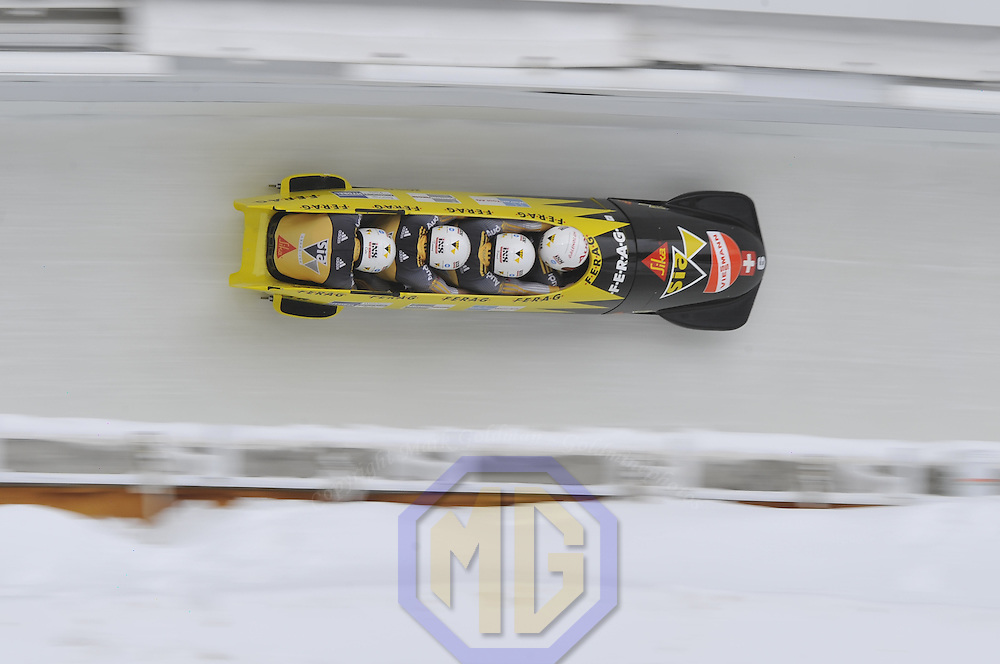 16 December 2007:  The Swiss 1 four-man bobsled driven by Ivo Rueegg, with Roman Handschin, Thomas Herzog and brakeman Cedric Grand compete at the FIBT World Cup 4-Man bobsled competition on December 16, 2007 at the Olympic Sports Complex in Lake Placid, NY.  The Swiss 1 sled finished  6th place as the Russia 2 sled driven by Alexandr Zubkov won the race with a time of 1:48.79.