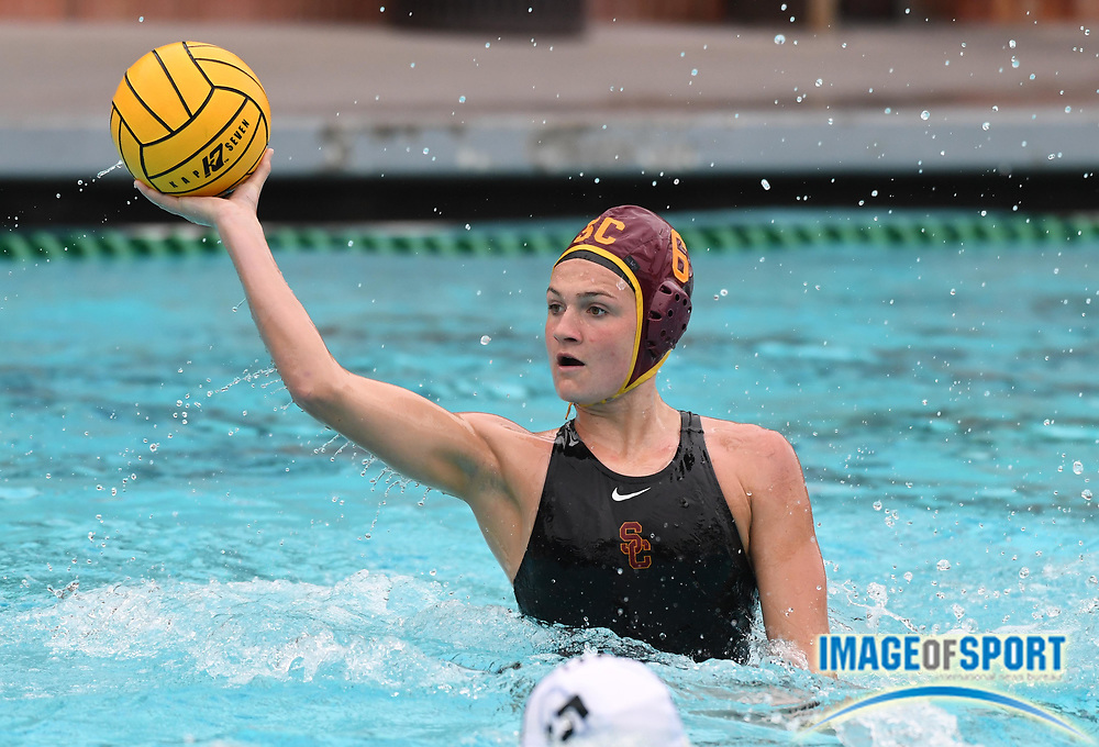 Southern California Trojans utility player Maud Megens (6) against the Wagner Seahawks during an NCAA college women's water polo quarterfinal game in Los Angeles, Friday, May 11, 2018. USC defeated Wagner 12-5.  (Kirby Lee via AP)