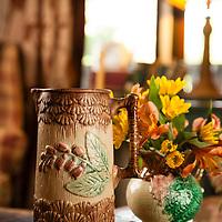 Rustic Cabin: Majolica on coffee table