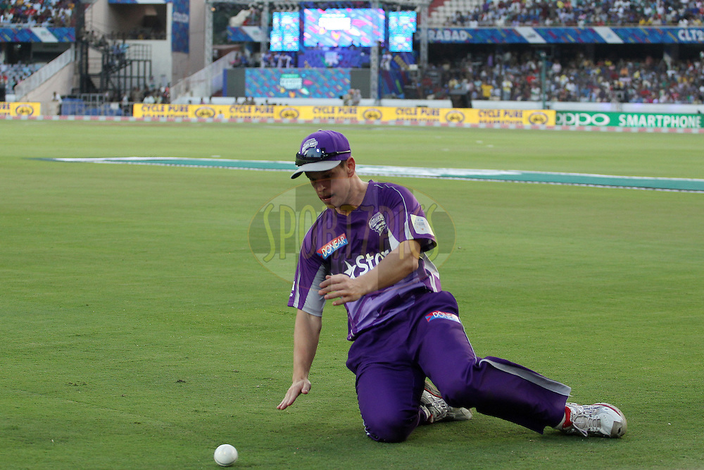 Evan GULBIS of the Hobart Hurricanes fields on the boundary during the first semi final match of the Oppo Champions League Twenty20 between the Kolkata Knight Riders and the Hobart Hurricanes held at the Rajiv Gandhi Cricket Stadium, Hyderabad, India on the 2nd October 2014<br /> <br /> Photo by:  Ron Gaunt / Sportzpics/ CLT20<br /> <br /> <br /> Image use is subject to the terms and conditions as laid out by the BCCI/ CLT20.  The terms and conditions can be downloaded here:<br /> <br /> http://sportzpics.photoshelter.com/gallery/CLT20-Image-Terms-and-Conditions-2014/G0000IfNJn535VPU/C0000QhhKadWcjYs