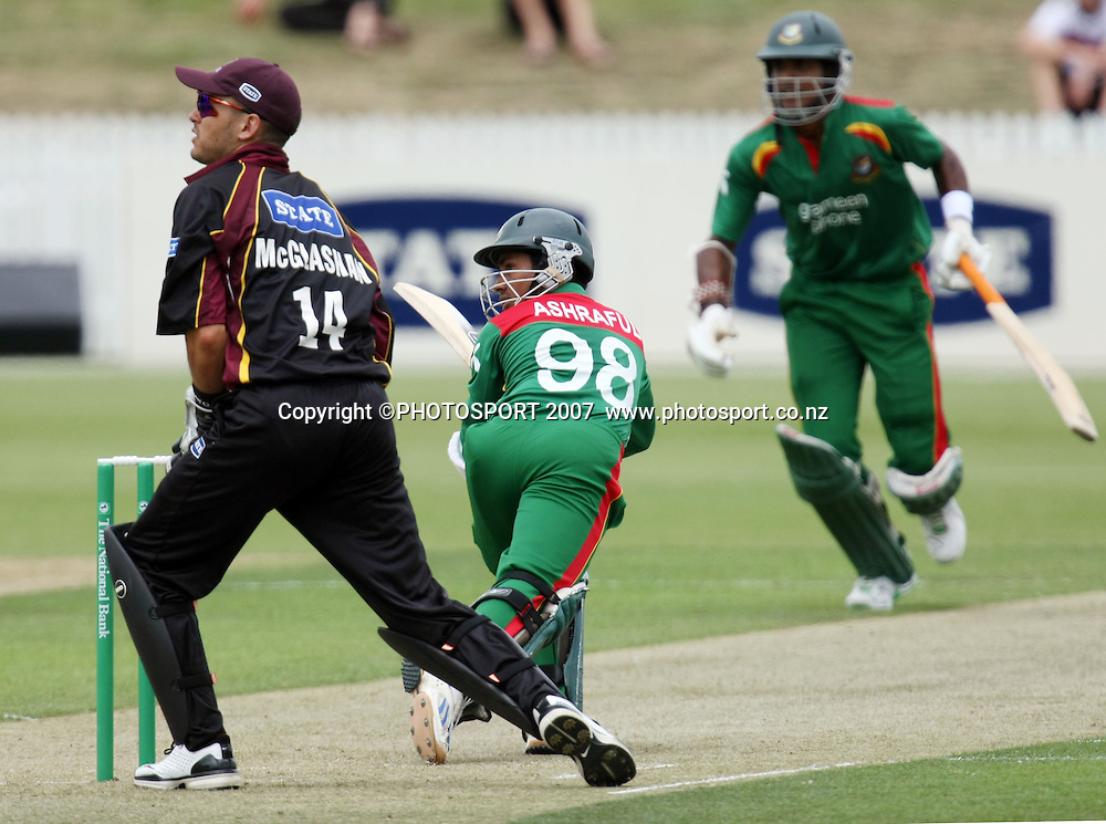 Knights wicketkeeper Peter McGlashan watches the ball go for runs from Bangladesh captain Mohammad Ashraful. Northern Knights v Bangladesh. One day tour cricket match. Seddon Park, Hamilton. Sunday 16 December 2007. Photo: Stephen Barker/PHOTOSPORT