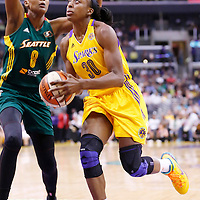 15 August 2014: Los Angeles Sparks forward Nneka Ogwumike (30) drives past Seattle Storm forward Angel Robinson (8) during the Los Angeles Sparks 77-65 victory over the Seattle Storm, at the Staples Center, Los Angeles, California, USA.
