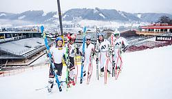 19.12.2012, Planai, Schladming, AUT, OeSV, Training, im Bild Johannes Kroell (AUT),  Joachim Puchner (AUT), Florian Scheiber (AUT), Georg Streitberger (AUT), Matthias Mayer (AUT) // Johannes Kroell (AUT),  Joachim Puchner (AUT), Florian Scheiber (AUT), Georg Streitberger (AUT), Matthias Mayer (AUT) during a practice Session of Austrian Ski Team at the Planai, Schladming on 2012/12/19. EXPA Pictures © 2012, PhotoCredit: EXPA/ Juergen Feichter