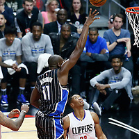 11 January 2017: Orlando Magic center Bismack Biyombo (11) goes for the baby hook during the LA Clippers 105-96 victory over the Orlando Magic, at the Staples Center, Los Angeles, California, USA.