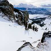Tigger Knecht skis backcountry powder in the Tetons near JHMR.