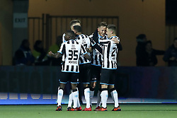 (L-R) Jamiro Monteiro of Heracles Almelo, Brandley Kuwas of Heracles Almelo, Paul Gladon of Heracles Almelo, Reuven Niemeijer of Heracles Almelo during the Dutch Eredivisie match between Heracles Almelo and NAC Breda at Polman stadium on November 26, 2017 in Almelo, The Netherlands