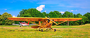 A 1946 Piper J3 Cub, and a Piper Cherokee at Peachstate Aerodrome, in Williamson, Georgia.