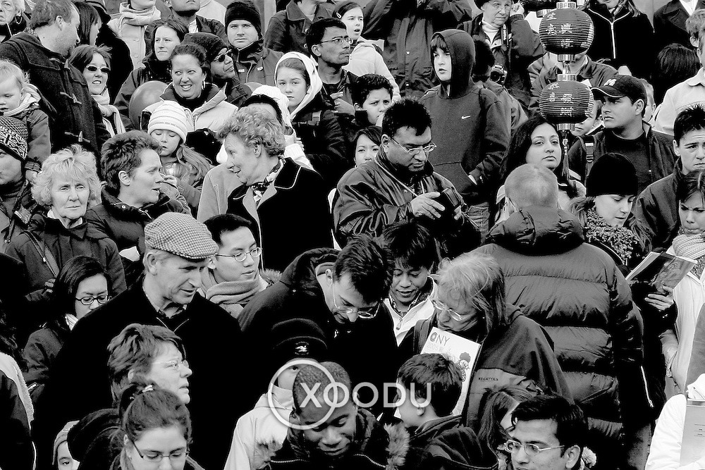 Chinese new year crowds, London, England (February 2005)