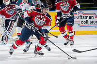 KELOWNA, CANADA -FEBRUARY 19: Parker Wotherspoon #37 of the Tri City Americans skates with the puck against the Kelowna Rockets on February 19, 2014 at Prospera Place in Kelowna, British Columbia, Canada.   (Photo by Marissa Baecker/Getty Images)  *** Local Caption *** Parker Wotherspoon;