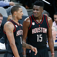 01 May 2017: Houston Rockets forward Trevor Ariza (1) talks to Houston Rockets center Clint Capela (15) during the Houston Rockets 126-99 victory over the San Antonio Spurs, in game 1 of the Western Conference Semi Finals, at the AT&T Center, San Antonio, Texas, USA.