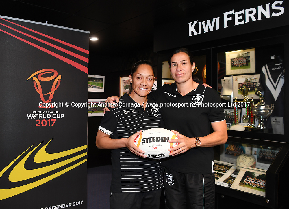 Kiwi Ferns captain Sarina Fiso (L) and teammate Sharlene Atai promoting the Women's Rugby League World Cup. Auckland, New Zealand. Wednesday 2 August 2017. © COPYRIGHT PHOTO: ANDREW CORNAGA / WWW.PHOTOSPORT.