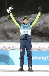 PYEONGCHANG, Feb. 15, 2018  Slovenia's Jakov Fak celebrates during venue ceremony of men's 20km individual event of biathlong at 2018 PyeongChang Winter Olympic Games at Alpensia Biathlon Centre, PyeongChang, South Korea, Feb. 15, 2018. Jakov Fak claimed second place in a time 48:09.3. (Credit Image: © Bai Xuefei/Xinhua via ZUMA Wire)