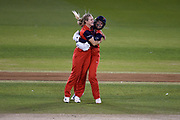 Emma Lamb and wicket keeper Eleanor Threlkeld of Lancashire Thunder celebrate the wicket of Tash Farrant during the Women's Cricket Super League match between Southern Vipers and Lancashire Thunder at the 1st Central County Ground, Hove, United Kingdom on 15 August 2019.