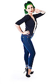 2015 High Waisted Blue Jeans Pinup - Lea Graves