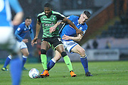 Joel Grant and Ryan Delaney during the EFL Sky Bet League 1 match between Rochdale and Plymouth Argyle at Spotland, Rochdale, England on 24 April 2018. Picture by Daniel Youngs.