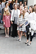 Victoria Federica de Marichalar, Queen Sofia of Spain, Crown Princess Leonor, Irene Urdangarin, Princess Sofia, Queen Letizia of Spain are seen after going to see the 'Billy Elliot' theatre play on May 19, 2018 in Madrid, Spain