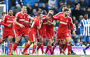 Nottingham Forest's Danny Collins is congratulated during the Sky Bet Championship match between Brighton and Hove Albion and Nottingham Forest at the American Express Community Stadium, Brighton and Hove, England on 7 February 2015. Photo by Phil Duncan.