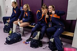 05-04-2017 NED:  CEV U18 Europees Kampioenschap vrouwen dag 4, Arnhem<br /> Nederland - Turkije 3-1 / Nederland doet zeer goede zaken en kan zich met winst op Italië zeker stellen van een halve finaleplaats - Charlot Vellener #9, Sarah van Aalen #10, Lisa Nobel #11
