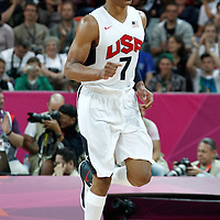 02 August 2012: USA Russell Westbrook reacts during 156-73 Team USA victory over Team Nigeria, during the men's basketball preliminary, at the Basketball Arena, in London, Great Britain.
