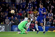 Mol Vidi defender Loic Nego (11) gets in before Chelsea FC goalkeeper Kepa Arrizabalaga (1) and just puts this effort wide during the Europa League match between Chelsea and MOL Vidi at Stamford Bridge, London, England on 4 October 2018.