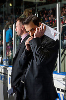 KELOWNA, CANADA - MARCH 1: Assistant coach Travis Crickard stands on the bench against the Prince George Cougars on MARCH 1, 2017 at Prospera Place in Kelowna, British Columbia, Canada.  (Photo by Marissa Baecker/Shoot the Breeze)  *** Local Caption ***