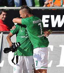 20.08.2011, Weser Stadion, Bremen, GER, 1.FBL, Werder Bremen vs SC Freiburg, im Bild Wesley (Bremen #5) und Marko Arnautovic (Bremen #7) Jubel nach dem 5:3..// during the Match GER, 1.FBL, Werder Bremen vs SC Freiburg on 2011/08/20,  Weser Stadion, Bremen, Germany..EXPA Pictures © 2011, PhotoCredit: EXPA/ nph/  Kokenge       ****** out of GER / CRO  / BEL ******