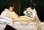 Olympia (1863), a nude whose pose was based on Titian's Venus of Urbino (1538). Painting by Edouard Manet (1832-1883) French Impressionist painter. Oil on canvas.