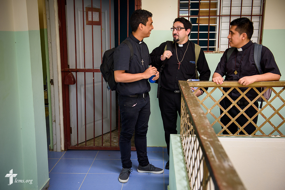 Seminarians Isaac Michado, Marcelo Rivas, and Elvis Carrera chat after class at Concordia Reformer Lutheran Seminary and Mercy Center in Palmar Arriba, Dominican Republic, on Wednesday, Oct. 18, 2017. LCMS Communications/Erik M. Lunsford