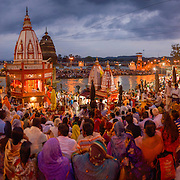 The massive crowd that regularly appears to celebrate aarti along the Ganges River at Har Ki Pauri ghat in Haridwar, Uttarakhand, India.