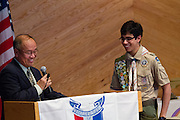 Michael Delegeane receives the Eagle Scout honor at Mt. Olive Ministries in Milpitas, Calif., on Jan. 13, 2012.  Photo by Stan Olszewski/SOSKIphoto