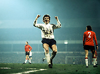 Kevin Hector (Derby County) celebrates scoring the winning goal. Derby County v Trnava. European Cup 1/4 Final 21/3/73. Credit: Colorsport.