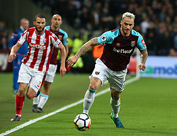 April 16, 2018 - London, England, United Kingdom - West Ham United's Marko Arnautovic.during English Premier League match between West Ham United and Stoke City at London stadium, London, England on 16 April 2018. (Credit Image: © Kieran Galvin/NurPhoto via ZUMA Press)