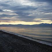 Italian Seascape during sunset. Paysage côtier Italien au couchant.