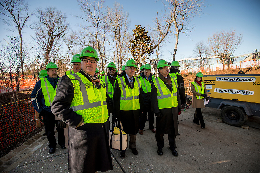 1/12/18 11:20:08 AM -- Halliburton CEO Jeff Miller and George Kaiser visit the Gathering Place for a press conference announcing Halliburton's support for the park. <br /> <br /> Photo by Shane Bevel