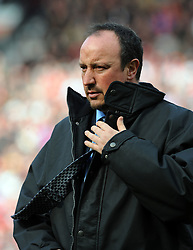 Rafael Benitez reflects during the Barclays Premier League match between Manchester United and Liverpool at Old Trafford on March 14, 2009 in Manchester, England.