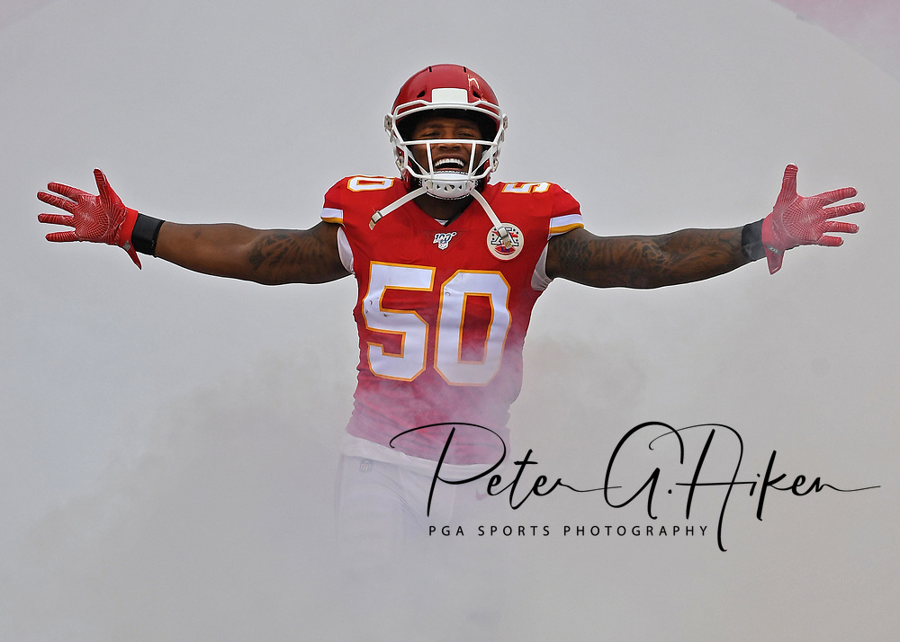 Inside linebacker Darron Lee #50 of the Kansas City Chiefs gets introduced prior to the game against the Baltimore Ravens at Arrowhead Stadium on September 22, 2019 in Kansas City, Missouri.