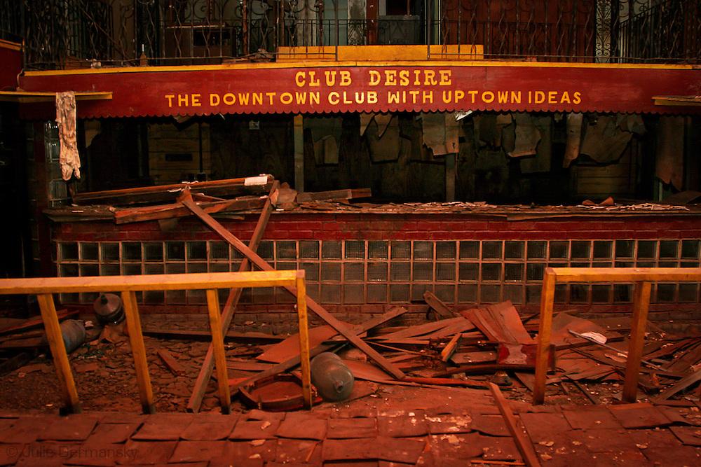 Inside Club Desire on Desire Street in New Orleans post-Katrina