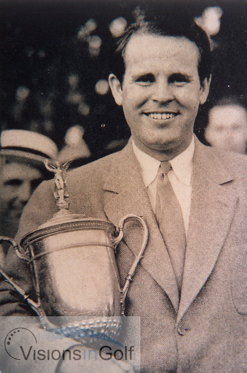 Ralph Guldahl  USGA Open winner 1937 with the trophy<br /> Picture Credit: &copy;Visions In Golf / Michael Hobbs