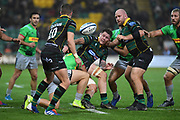 Northampton Saints centre Andy Symons (12) gets a pass away during the Gallagher Premiership Rugby match between Northampton Saints and Harlequins at Franklins Gardens, Northampton, United Kingdom on 1 November 2019.