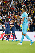 Adrien Rabiot (psg) scored a goal and celebrated it with Angel Di Maria (psg), Neymar da Silva Santos Junior - Neymar Jr (PSG), Edinson Roberto Paulo Cavani Gomez (psg) (El Matador) (El Botija) (Florestan), Alban LAFONT (Toulouse Football Club) during the French championship L1 football match between Paris Saint-Germain (PSG) and Toulouse Football Club, on August 20, 2017, at Parc des Princes, in Paris, France - Photo Stephane Allaman / ProSportsImages / DPPI