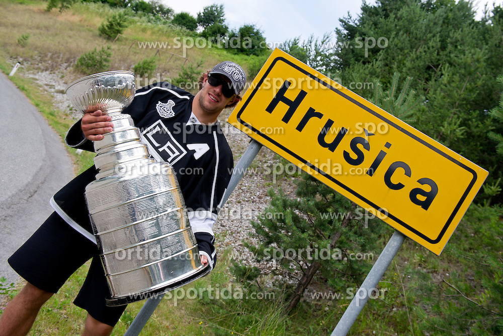 Anze Kopitar with trophy at sign Hrusica during Ice Hockey NHL Champion Anze Kopitar of LA Kings with Stanley Cup in Slovenia, on July 6, 2012 in Hrusica, Slovenia. (Photo by Matic Klansek Velej / Sportida)