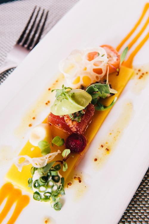 Fresh mango carpaccio with fresh tuna at 137 Pillar's House hotel, Chiang Mai