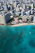 Aerial, Royal Hawaiian Hotel, Waikiki, Honolulu, Oahu, Hawaii