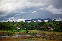 View across countryside on a stormy afternoon in Bario, Sarawak.