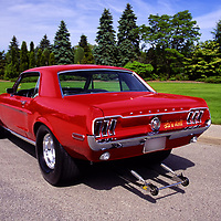 1968 Ford Mustang with wheelie wheels