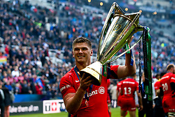Owen Farrell of Saracens celebrate winning the Heineken Champions Cup after beating Leinster Rugby in the Final - Mandatory by-line: Robbie Stephenson/JMP - 11/05/2019 - RUGBY - St James' Park - Newcastle, England - Leinster Rugby v Saracens - Heineken Champions Cup Final