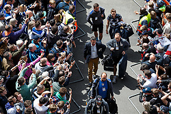 Bath Head Coach Mike Ford and his players arrive to a sea of Bath supporters at Twickenham - Photo mandatory by-line: Rogan Thomson/JMP - 07966 386802 - 30/05/2015 - SPORT - RUGBY UNION - London, England - Twickenham Stadium - Bath Rugby v Saracens - 2015 Aviva Premiership Final.