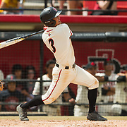 15 April 2018: San Diego State infielder Jacob Maekawa (3) hits a sacrifice fly in the bottom of third inning driving in a run and giving the Aztecs a 9-2 lead. The San Diego State baseball team closed out the weekend series against Cal State Fullerton with a 9-6 win at Tony Gwynn Stadium. <br /> More game action at sdsuaztecphotos.com