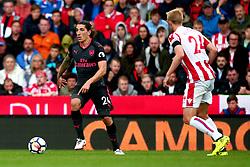 Hector Bellerin of Arsenal takes on Darren Fletcher of Stoke City - Mandatory by-line: Robbie Stephenson/JMP - 19/08/2017 - FOOTBALL - Bet365 Stadium - Stoke-on-Trent, England - Stoke City v Arsenal - Premier League
